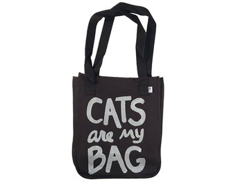 Cat Lover tote bag, CATS are my BAG,  organic cotton, mothers day gift for cat lover, pet lover gift, canvas tote bag, funny quote, cat lady