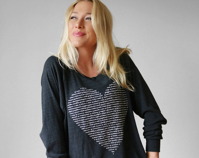Ladies Animal Lover Long Sleeve Slouchy Heart Tee, Grad gift for her, gift for teenage girl, positive clothing, mom gift