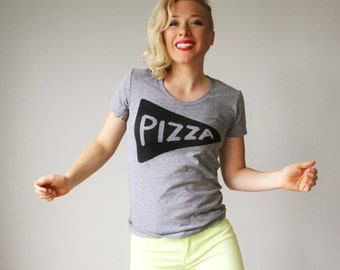 Womens Gray Pizza Slice T Shirt, Womens Gift, pizza party ideas, funny tshirt, Tri Blend Track, Womens T Shirt, Mom Shirt, graphic tees