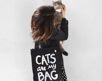 Organic Cotton - CATS are my BAG canvas tote, beach bag, travel bat, grad gift, cat gifts, cat lover gift, vet tech, cat lady, teacher gift