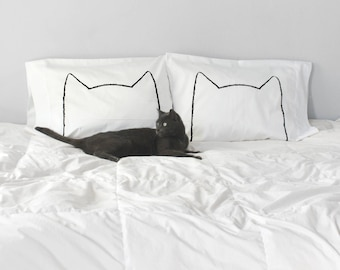 Catnap Kitty Ears Cotton Pillow Cases Gift Set by Xenotees home decor, Cat Dad Mom Gift, Cat Person Present Idea, made in USA