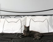 Cat Ears Catnap Pillow Cases Set, mothers day housewarming wedding catobsessed standard white cotton bedding funny gift for her mom Xenotees