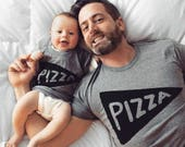Dad Baby Matching Pizza Shirts, dad gifts from daughter son matching t shirts foodie gift man grandpa funny for gift pizza lover