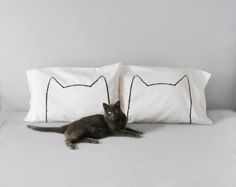 Cat Lover Gift - Cat Nap Pillow Case Set - pet dad -  funny  pillowcase - Mother gift, gift for her, anniversary gift cotton, cat man men