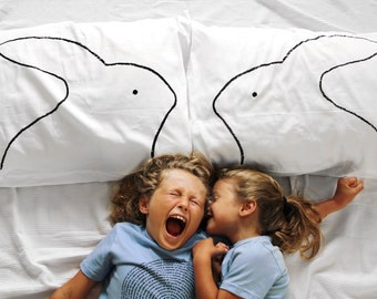 Bunny Rabbit Pillowcase Set / Standard, Kids Gifts, Bedroom Decor, Cotton Pillow Cases, USA Made