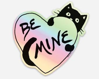 Be Mine Cute Holographic Vinyl Sticker for Cat Lovers, Rainbow Cat Sticker for bike helmet or car bumper, waterproof and weatherproof