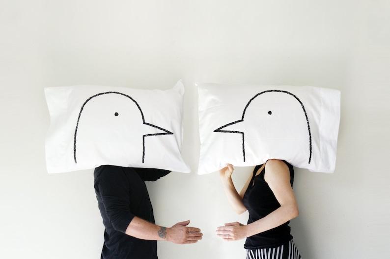 Love Bird Pillow Case Set romantic gift for him anniversary image 0