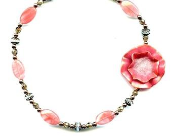 Corsage Necklace - Pink Sugar - Handmade Polymer Clay Flower
