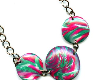 Dome Necklace - Handmade Polymer Clay Beads - Pink/Green/White