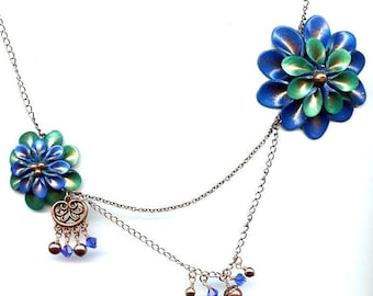 Corsage Necklace - Blue and Green - Handmade Polymer Clay Flowers