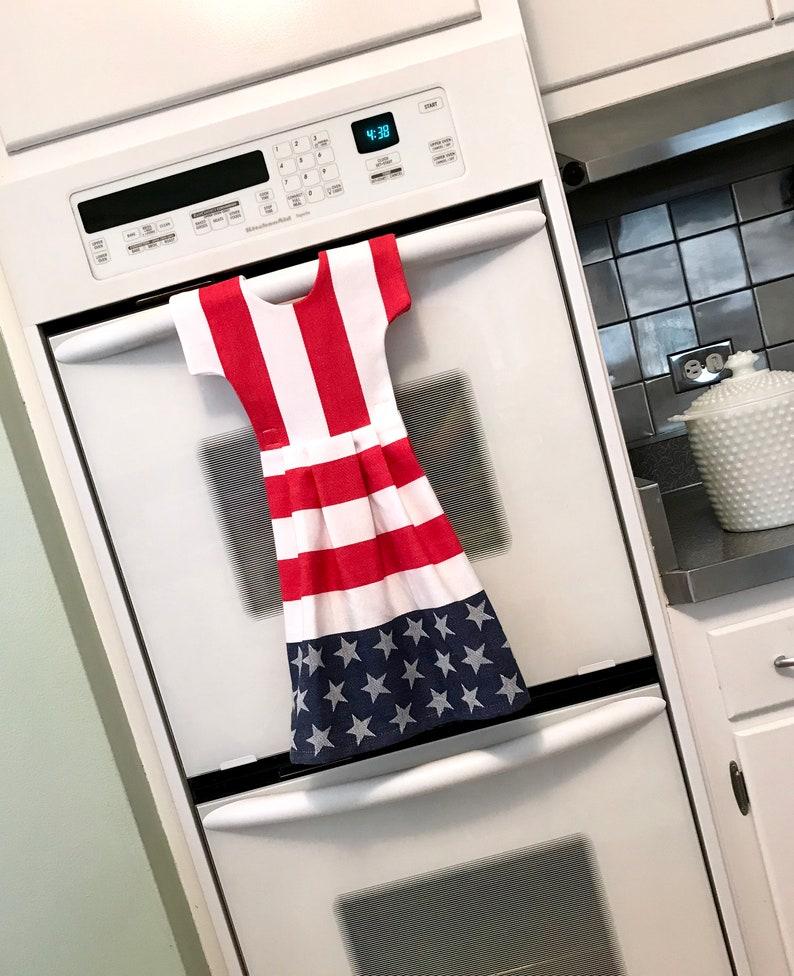 21f9298dfcc1 Star and Stripes Kitchen Dishtowel Dress Hanging Dish Towel