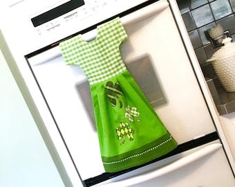 Irish Shamrock Kitchen Towel Dress / Dish Towel Dress / Tea Towel Oven Dress /Green and White Hanging Towel by Klosti