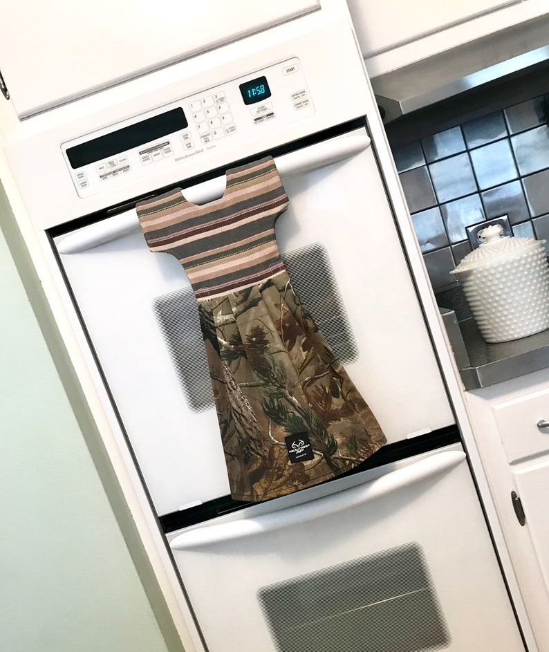 Realtree Camo Dish Towel Dress to Hang on Oven Door or Towel Bar  Cabin Style Decor by Klosti