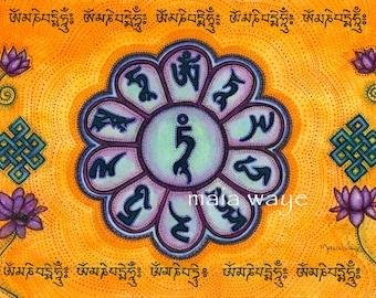 "Green Tara & Om Mani Mantra 8x10"""