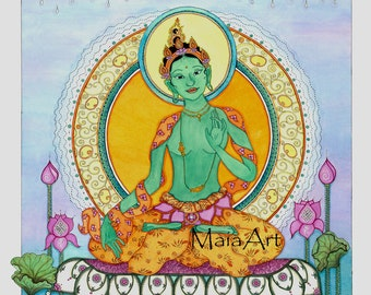 Green Tara Thangka limited edition print signed and numbered