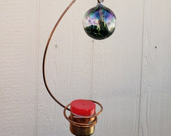 Bee-proof copper hummingbird feeder with 3-inch blown glass witch ball