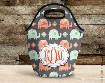 Lunch Bag, Elephant Insulated Lunch Bag, Monogram Lunch Bag for Women, Lunch Tote