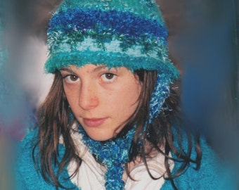 CUSTOM ORDER  Winter Snow Beanie Hat with Ear Flaps Choose your own Colors Colours