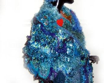 Freeform Crochet Wrap Shawl  OOAK Wearable Art Blue Viridian Indigo Jade
