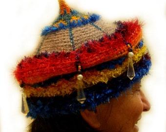 CUSTOM ORDER Art Hat, Tailor Made Freeform Crochet 'Jacaranda Crown' Beanie