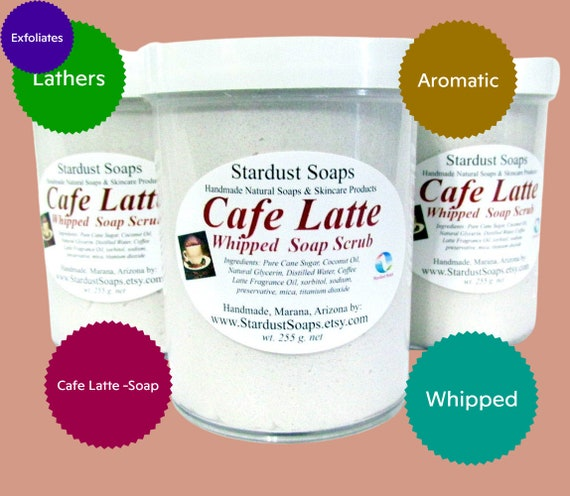 Cafe Latte Whipped Soap Scrub, Handmade in USA, aromatic, coffee, lathers, exfoliates, moisturizing, clean rinse. wt. 255 g