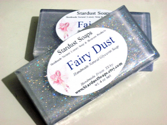 Stardust Soaps Sparkle Fairy Dust -/Bar soap (handmade, aromatic, cleanses, moisturizing, sparkle, gift idea) wt. 4 oz net