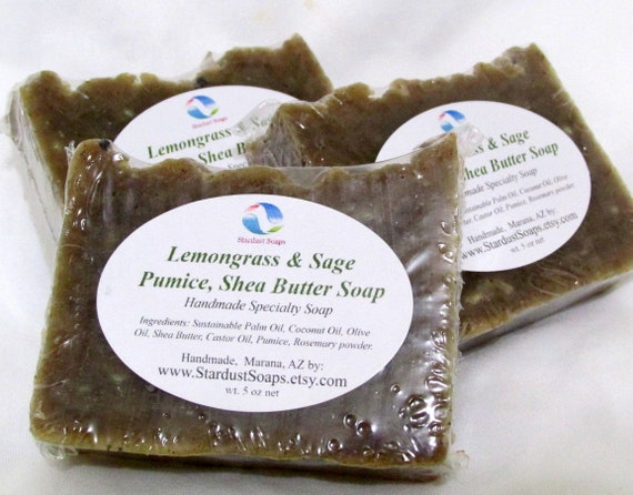 Lemongrass & Sage Pumice, Shea Butter Soap (Mechanics soap, Handmade, Natural, Luxurious) Stardust Soaps