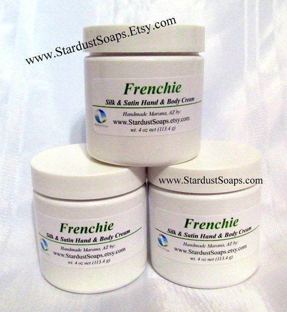 Frenchie lotion/Cream, handmade in USA, moisturizing, anti aging cream, face and body cream, Green Tea, refreshingly clean, 4 oz