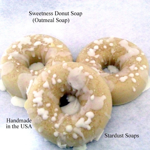 Sweetness Donut Soap -Oatmeal Soap, nice lather, gentle exfoliation, smells sweet like sugar, gift soap Full size 4 oz bar