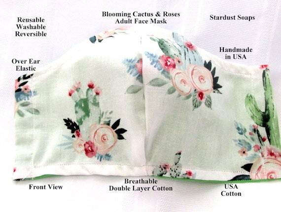 Blooming Cactus & Roses, Adult Face Mask, Handmade in USA,Reusable, Washable, Reversible, Breathable Double Layer Cotton, Face Cover