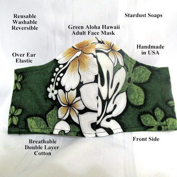 Green Aloha Hawaii Adult Face Mask,Handmade in USA, Reusable, Washable, Reversible, Travel, Face protection, daily use, handmade