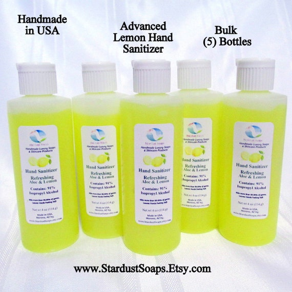 Bulk (5) Bottles Advanced Lemon Hand Sanitizer, 91% Isopropyl Alcohol, Organic Aloe Gel, antimicrobial, kills most germs (4 oz) x5