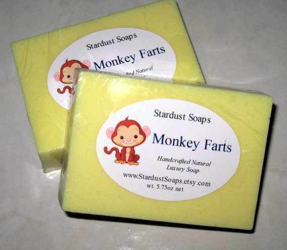 Monkey Farts bar soap (Handmade Natural glycerin soap, with coconut oil, lots of lather, aromatic, gentle on skin) Stardust Soaps