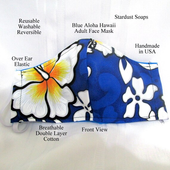 Made in USA, Blue Aloha Hawaii, Adult Face Mask, Reusable, Washable, Reversible, Face protection, travel, Gift mask, daily use, handmade