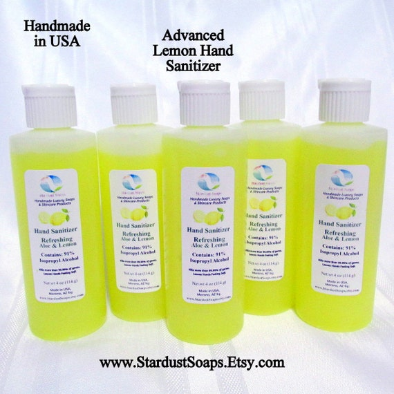 Advanced Lemon Hand Sanitizer, 91% Isopropyl Alcohol, Organic Aloe Gel, antimicrobial, kills most germs (4 oz) each