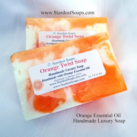 Orange Twist Handmade Luxury Soap, Orange Essential Oil Soap, Coconut Oil Soap, Moisturizing, lots of lather, self care, citrus soap