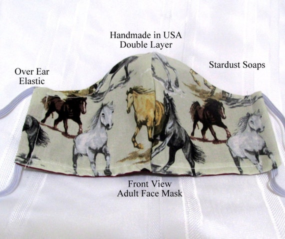 Made in USA -Wild Horses Adult Face Mask, Handmade, Breathable Cotton, Double Layer, Reversible, Facial protection, Washable, Reusable