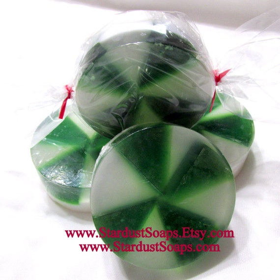 Peppermint Candy Soap - Naturally Handmade, luxurious, lots of lather, Full size 5 oz, Christmas Gift, Individually packaged