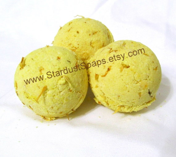 Sunshine (Calendula) Handmade Bath Bombs (natural exfoliation, moisturizes, soothes skin, aromatic, clean) (NO Cornstarch!)