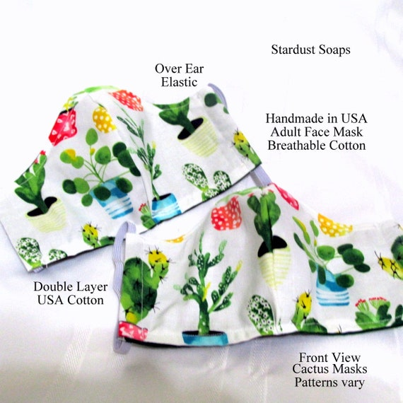Cactus Adult Face Mask, Handmade in USA, Breathable Cotton, Double Layer, Reusable, Washable, facial protection, reversible. travel mask