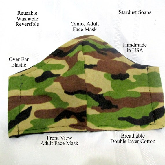 Camouflage Adult Face Mask, Reusable, washable, reversible,  handmade in USA, Breathable, double layer cotton