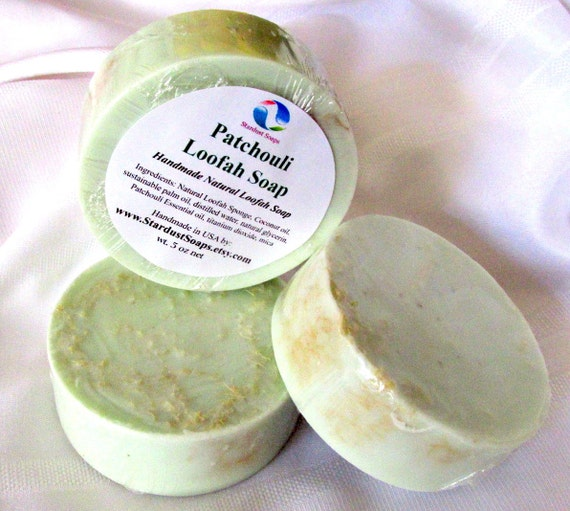 Patchouli Loofah Soap (handmade, natural soap, exfoliates, aromatic, lathers, moisturizes) packaged 5 oz net