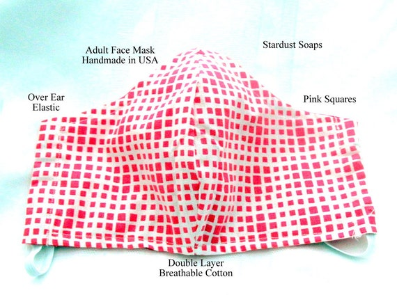 Pink Squares Adult Face Mask, Handmade in USA, Reusable, Washable, Reversible, Breathable Double layer cotton, gift mask