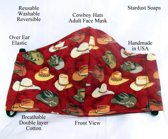 Cowboy Western Hats Adult Face Mask, Handmade in USA, Reusable, Washable, Reversible, Breathable Cotton, Double layer, Gift