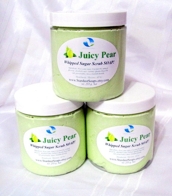 Juicy Pear Whipped Sugar Scrub Soap, Made in USA, handmade, exfoliating soap, natural soap, for all skin types, Fall Liquidation SALE