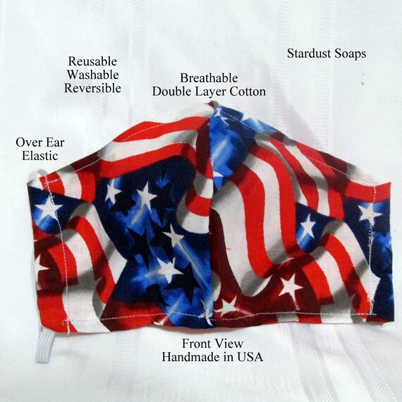American Flag Adult Face Mask, Handmade in USA Reusable, Washable, Reversible, breathable double layer cotton, Gift mask