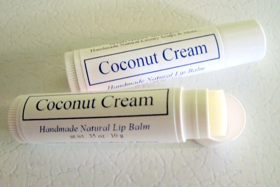 Coconut Cream Lip Balm (Handmade and natural lip balm that is moisturizing, makes a gift idea, flavorful) Stardust Soaps