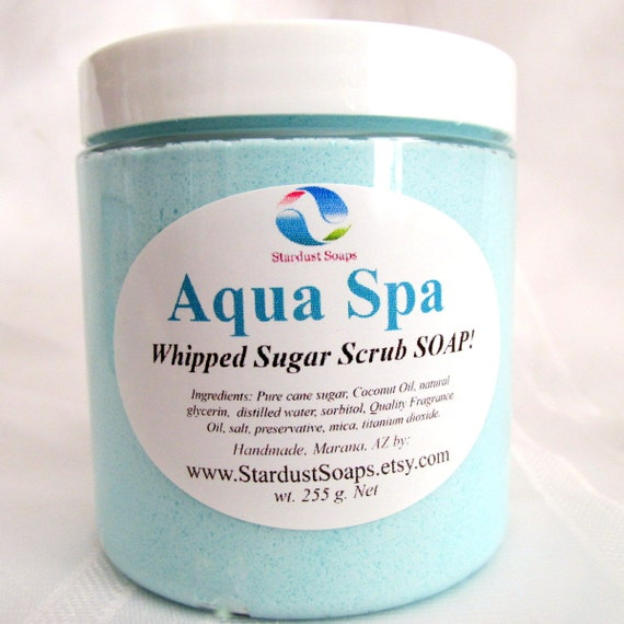 Aqua Spa Whipped Soap Scrub and Body Polish -Naturally Handmade, exfoliate, bath and beauty, gift soap, Free USA shipping item