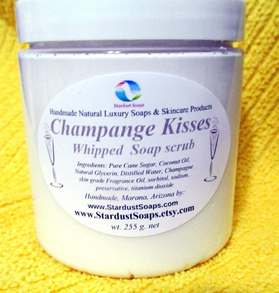 Champagne Kisses Whipped Soap Scrub - Handmade, gentle scrub, all skin types, lathers, moisturizes, Free  USA shipping, Made in USA