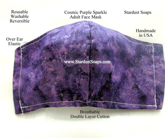 Cosmic Purple Sparkle Adult Face mask, handmade in USA, reusable, washable, reversible, double layer cotton, face protection, gift mask